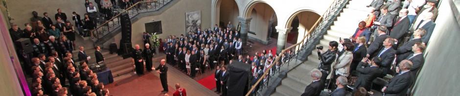 Trondhjems Studentersangforening synger på NTNUs Doktorpromosjon våren 2014